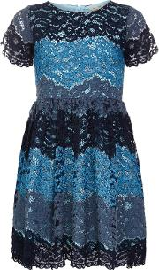 Yumi Girl , Three Colour Lace Dress, Navy