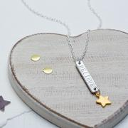 Chambers & Beau , Personalised Skinny Bar And Star Necklace