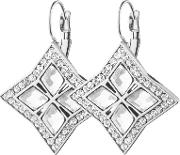 Dyrberg Kern , Dyrbergkern Crystal Square Hook Drop Earrings, Silver