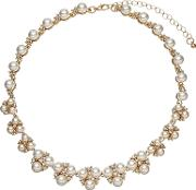 John Lewis , Faux Pearl And Cubic Zirconia Cluster Collar Necklace