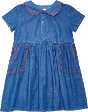 Margherita Kids , Girls' Chambray Dress, Blue