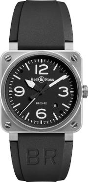 Bell & Ross , Br0392 Bl St Men's Rubber Strap Watch, Black
