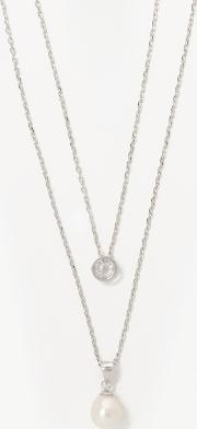 Lido Pearls , Double Layer Freshwater Pearl And Cubic Zirconia Pendant Necklace