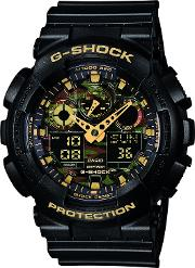 Casio , Ga 100cf 1a9er Men's G Shock Alarm Chronograph Resin Strap Watch, Blackamber