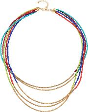 Adele Marie , 5 Row Bead And Spring Tube Necklace, Goldmulti