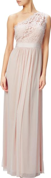 Adrianna Papell , One Shoulder Lace Stretch Tulle Gown, Blush