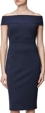 Adrianna Papell , Plus Size Off Shoulder Fitted Dress, Blue Moon