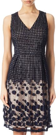 Adrianna Papell , Pleated Plaid Dot Fit And Flare Dress, Navypink