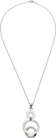 Andea , Hammered Circle Pendant Necklace, Silver