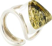 Bejewelled , Be Jewelled Sterling Silver Baltic Ring, Green Amber