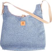 Butterfly Tree , Wool Handbag With Buckle Strap, Teal