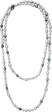 Claudia Bradby , Long Rice Freshwater Pearl Necklace, Silvermulti