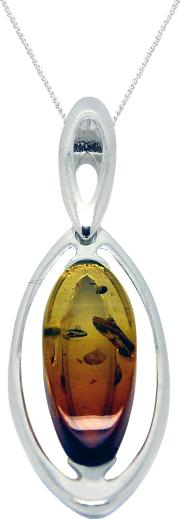 Goldmajor , Amber And Sterling Silver Marquise Pendant Necklace, Silveramber
