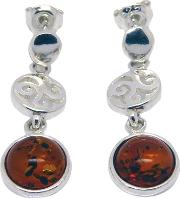 Goldmajor , Amber And Sterling Silver Sunset Disc Earrings, Silveramber