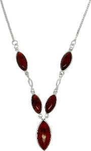 Goldmajor , Sterling Silver Amber Marquise Y Necklace, Amber