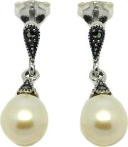 Goldmajor , Sterling Silver Marcasite And Freshwater Pearl Drop Earrings, Silver