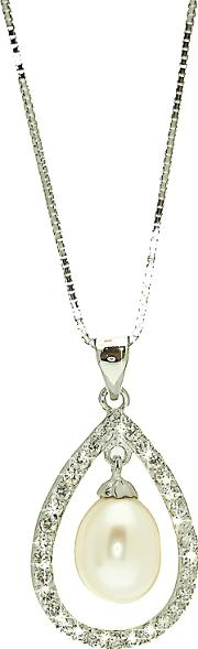Lido Pearls , Large Oval Pearl Cubic Zirconia Oval Pendant Necklace, White