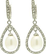 Lido Pearls , Large Oval Pearl Drop Cubic Zirconia Bar Setting Earrings, White