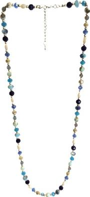 One Button , Super Long Faceted Bead Necklace, Bluemulti