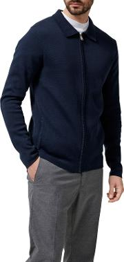 Selected Homme , Jakob Full Zip Knitted Jacket, Dark Sapphire