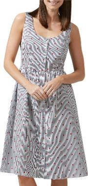 Sugarhill Boutique , Beatrice Hearts And Stripe Dress, Navyred