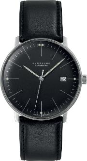 Junghans , 0274701.00 Men's Max Bill Automatic Date Leather Strap Watch, Black