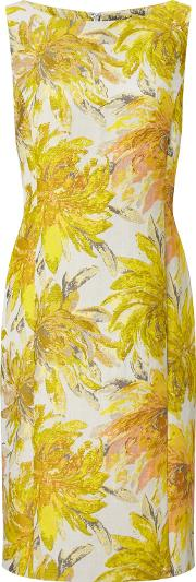 Bruce By Bruce Oldfield , Jacquard Floral Dress, Yellow