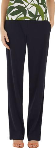 Marc Cain , Straight Leg Crepe Trousers, Navy