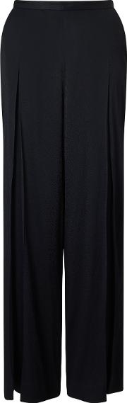 Bruce By Bruce Oldfield , Wide Leg Textured Trousers, Black