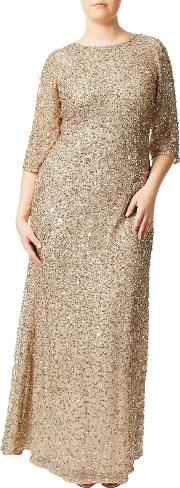 Adrianna Papell , Plus Size Three Quarter Sleeve Beaded Mermaid Gown