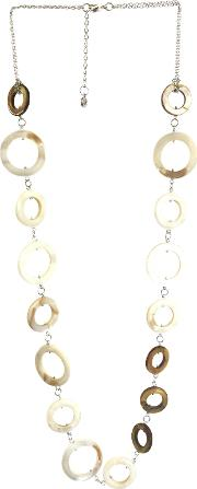 One Button , Mother Of Pearl Circles Long Row Necklace, Coffeenatural