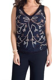 Chesca , Cornelli Embroidered Lace Cami