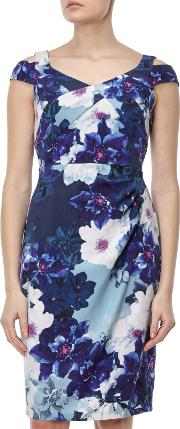 Adrianna Papell , Cold Shoulder Origami Dress, Bluemulti