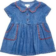 Margherita Kids , Baby Chambray Dress, Blue