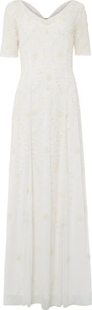 Raishma , Embellished Georgette Gown, White