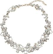 John Lewis , Statement Large Cubic Zirconia Collar Necklace, Goldclear