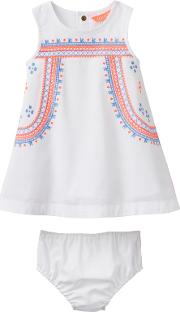 Joules , Baby Joule Bunty Embroidered Dress And Knickers Set, Whitemulti