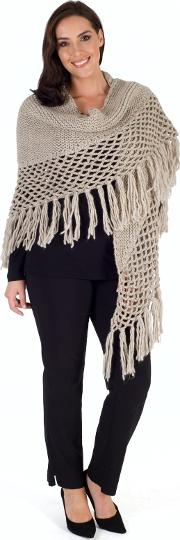 Chesca , Wool Blend Large Fringed Shawl With Crocheted Panel