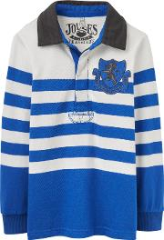 Joules , Boys' Winner Block Stripe Rugby Shirt, Bold Bluewhite