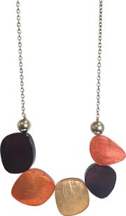One Button , Laminate Oval Link Statement Necklace