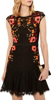 Embroidered Lace Peplum Dress