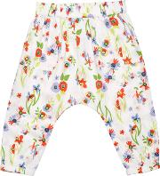 Margherita Kids , Baby Floral Print Harem Trousers, Whitemulti