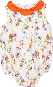 Margherita Kids , Baby Flower Print Romper Bodysuit, Whitemulti