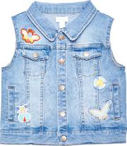 Margherita Kids , Girls' Bug Applique Sleeveless Denim Jacket, Blue