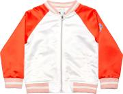 Margherita Kids , Girls' Satin Butterfly Bomber Jacket, Whitemulti