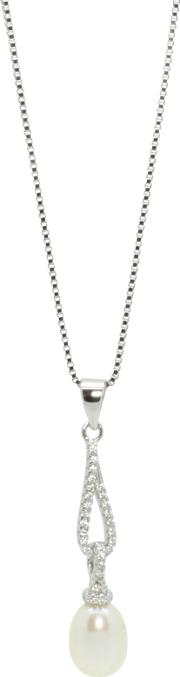 Lido Pearls , Long Oval Cubic Zirconia And Freshwater Pearl Pendant Necklace, Silver