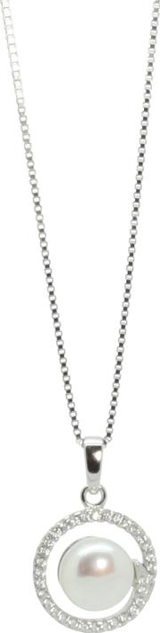 Lido Pearls , Round Cubic Zirconia Freshwater Pearl Pendant Necklace, Silver