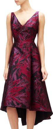 Adrianna Papell , Plus Size Floral V Neck Jacquard Midi Dress