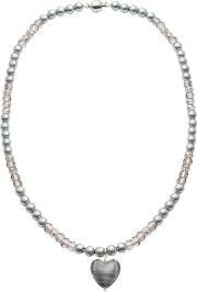 Martick , Glass Heart And Faux Pearl Pendant Necklace