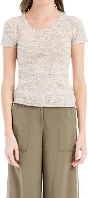 Max Studio , Short Sleeve Knitted Top, Oatmeal